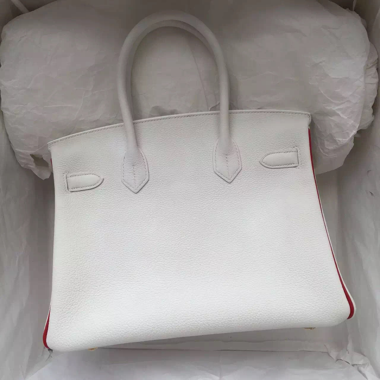 Discount Hermes Birkin 30cm White & Q5 Chinese Red Togo Calfskin Leather Ladies' Handbag