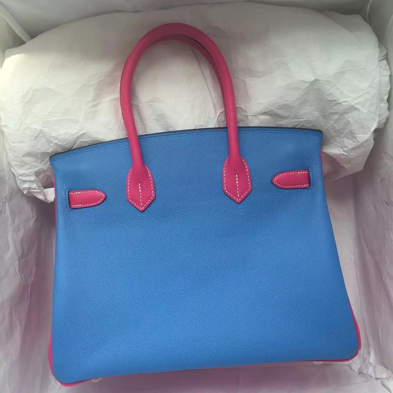 Sale 30CM Hermes Color-blocking Birkin Bag Epsom Leather Gold Hardware
