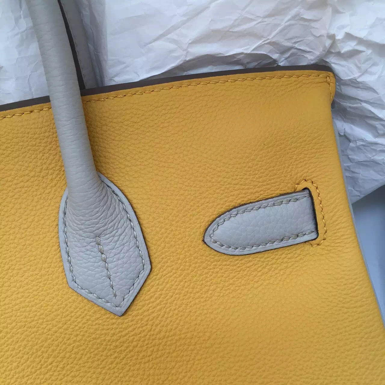 Hand Stitching Hermes Three Colors Birkin Bag 30CM Fashion Women's Handbag