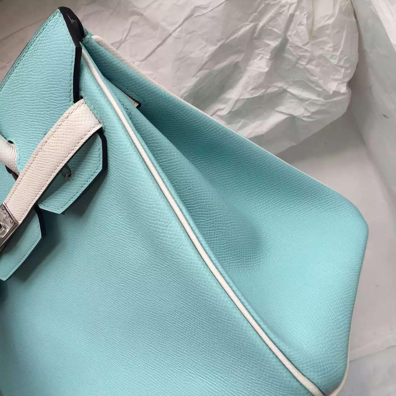 New Fashion Hermes 3P Lagon Blue & White Epsom Leather Birkin Bag 30CM