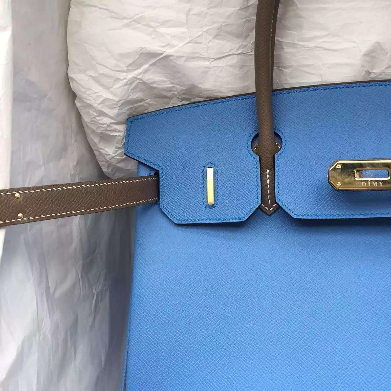 Cheap Hermes 2T Blue Paradise & Etoupe Grey Epsom Leather Birkin Bag 30CM