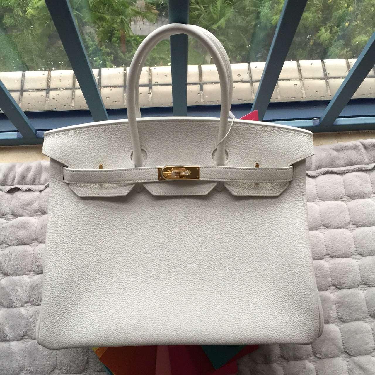 Wholesale Hermes Birkin Bag White & 5P Pink inner Togo Leather Gold Hardware