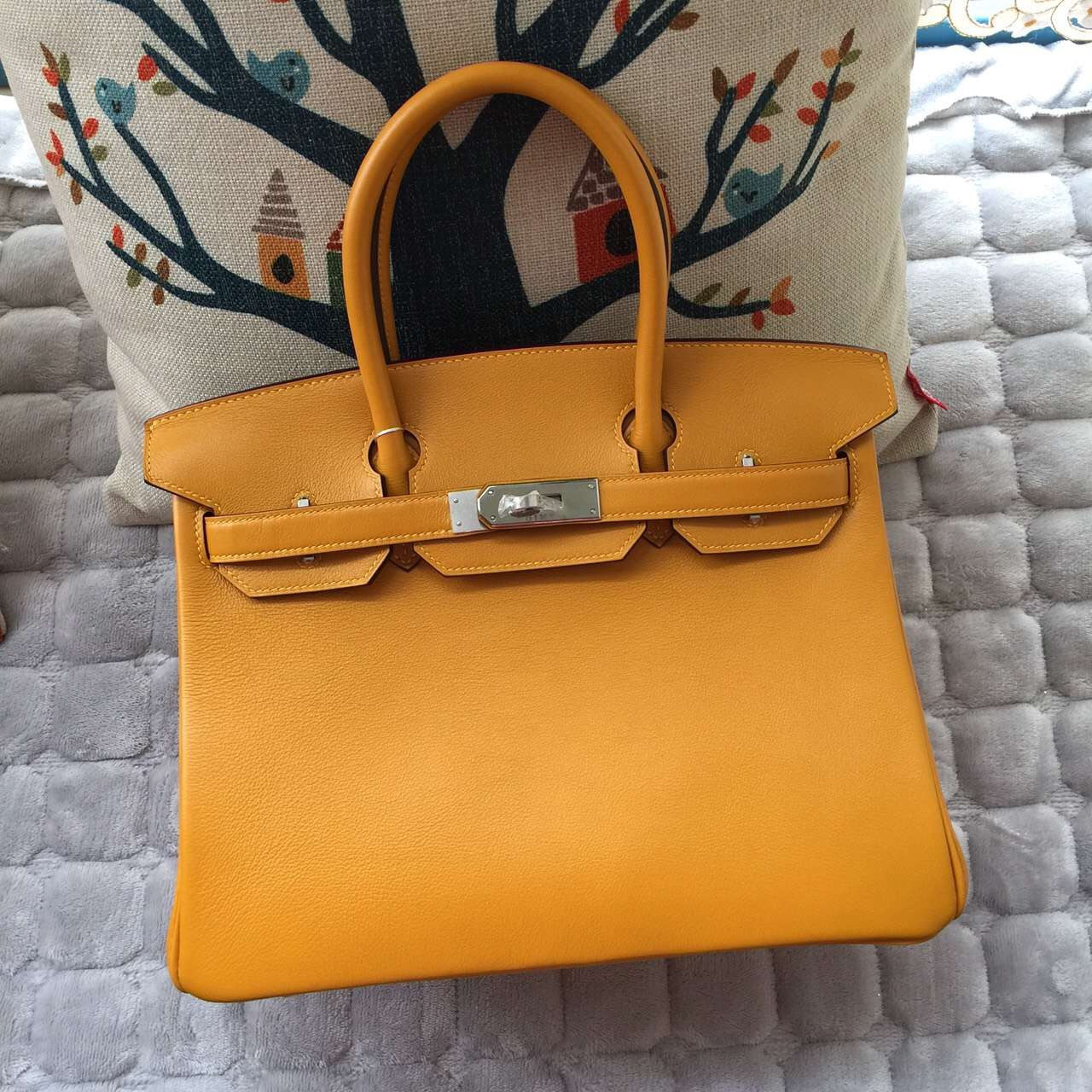 High Quality Hermes Birkin Bag 30CM 9V Sun Yellow Swift Leather Women's Tote Bag
