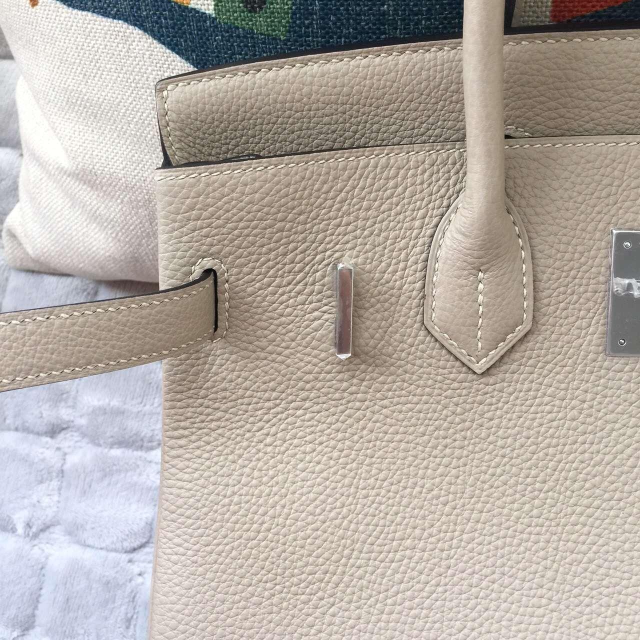 30CM Hermes Gris Tourterelle Togo Calfskin Leather Birkin Bag Silver Hardware