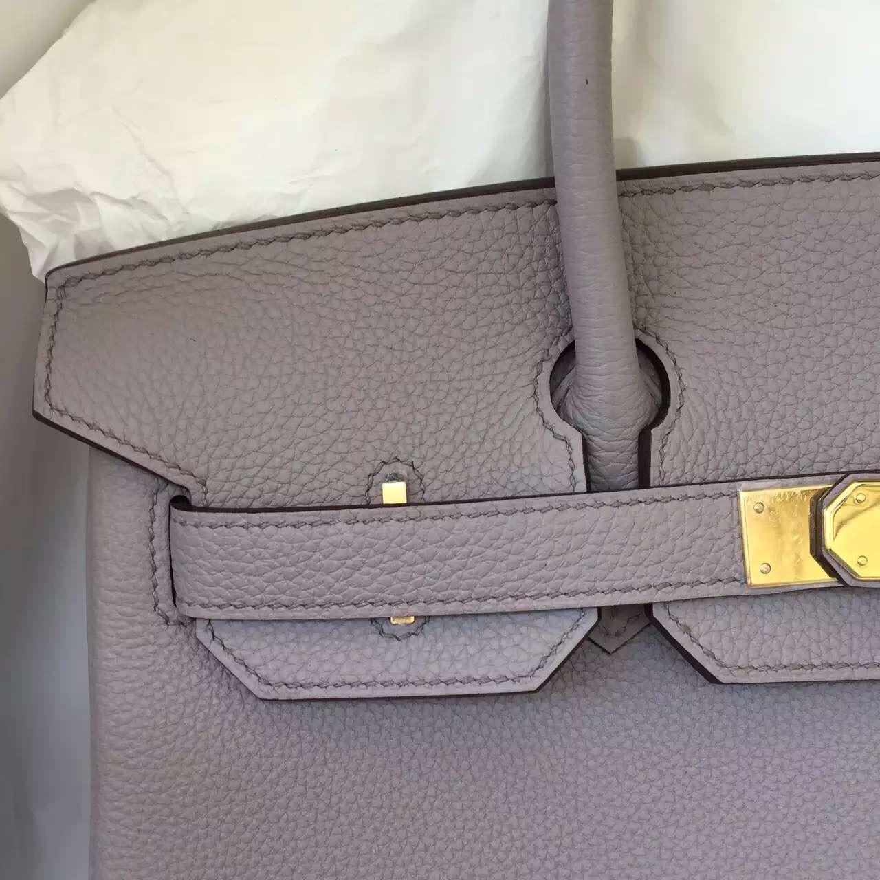 Hand Stitching Hermes Light Etain Grey Togo Leather Birkin Bag 30CM