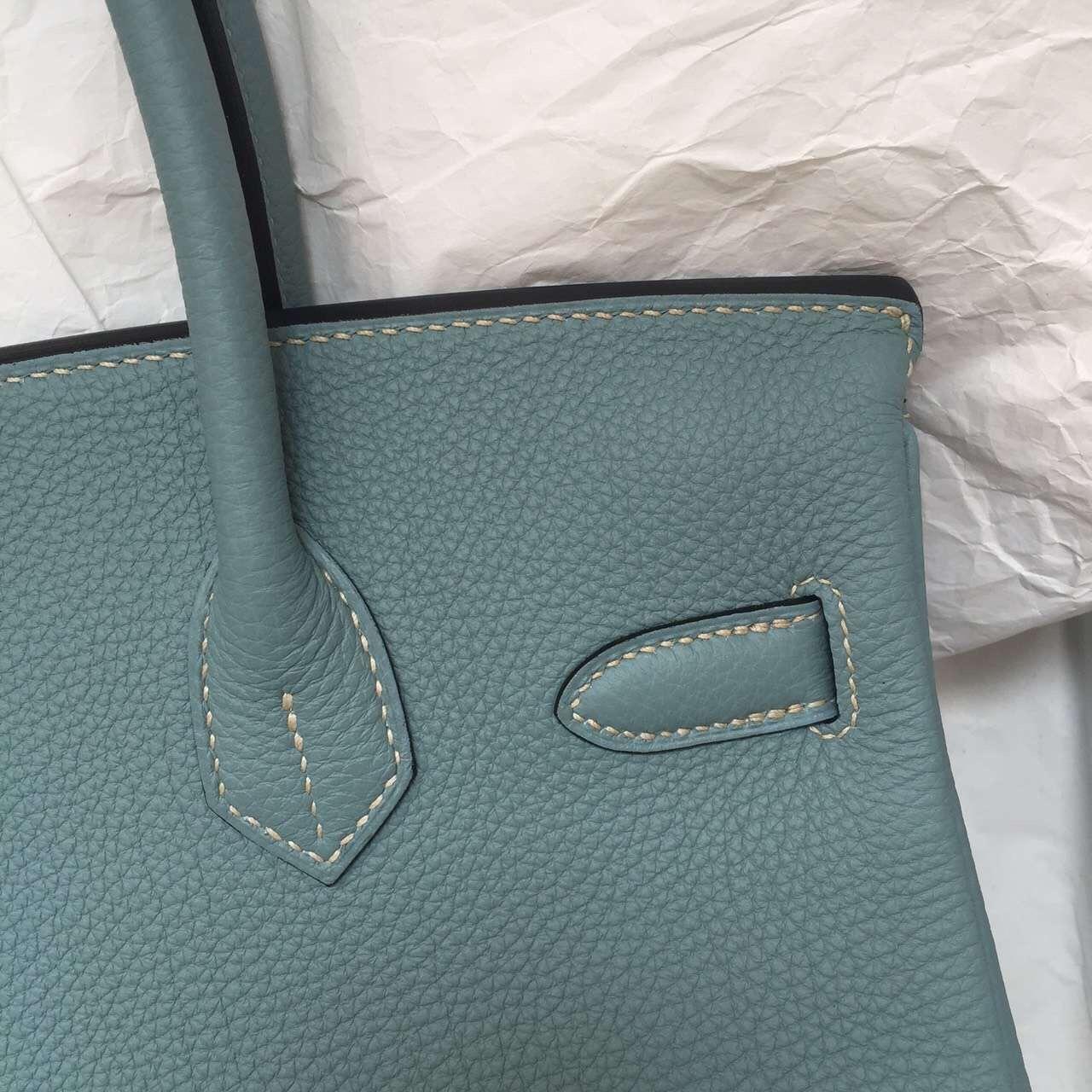 Wholesale Hermes Birkin Bag New Blue Lin Togo Leather Ladies' Tote Bag 30cm