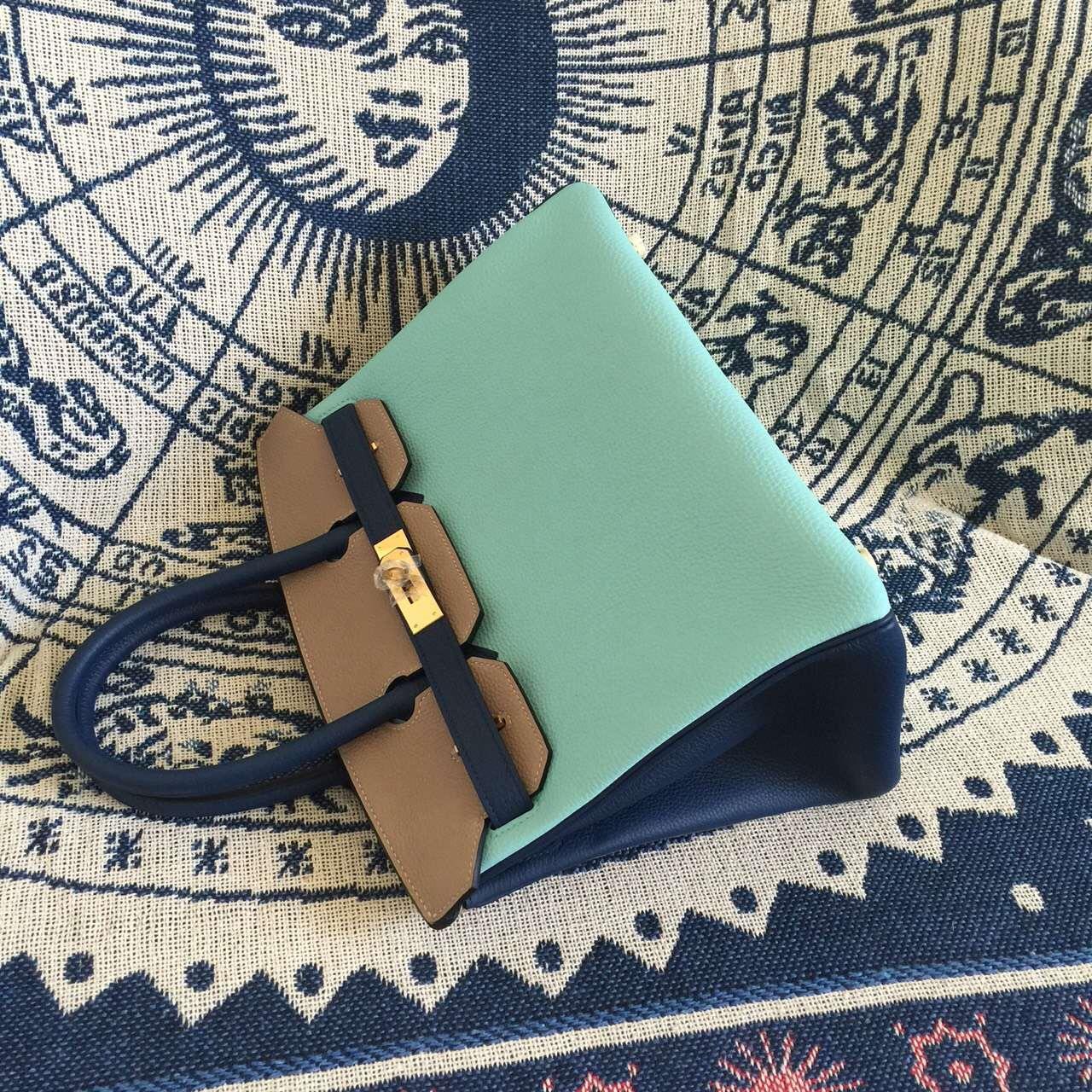 2015 New Hermes Color-blocking Togo Leather Birkin Bag 30CM Gold Hardware