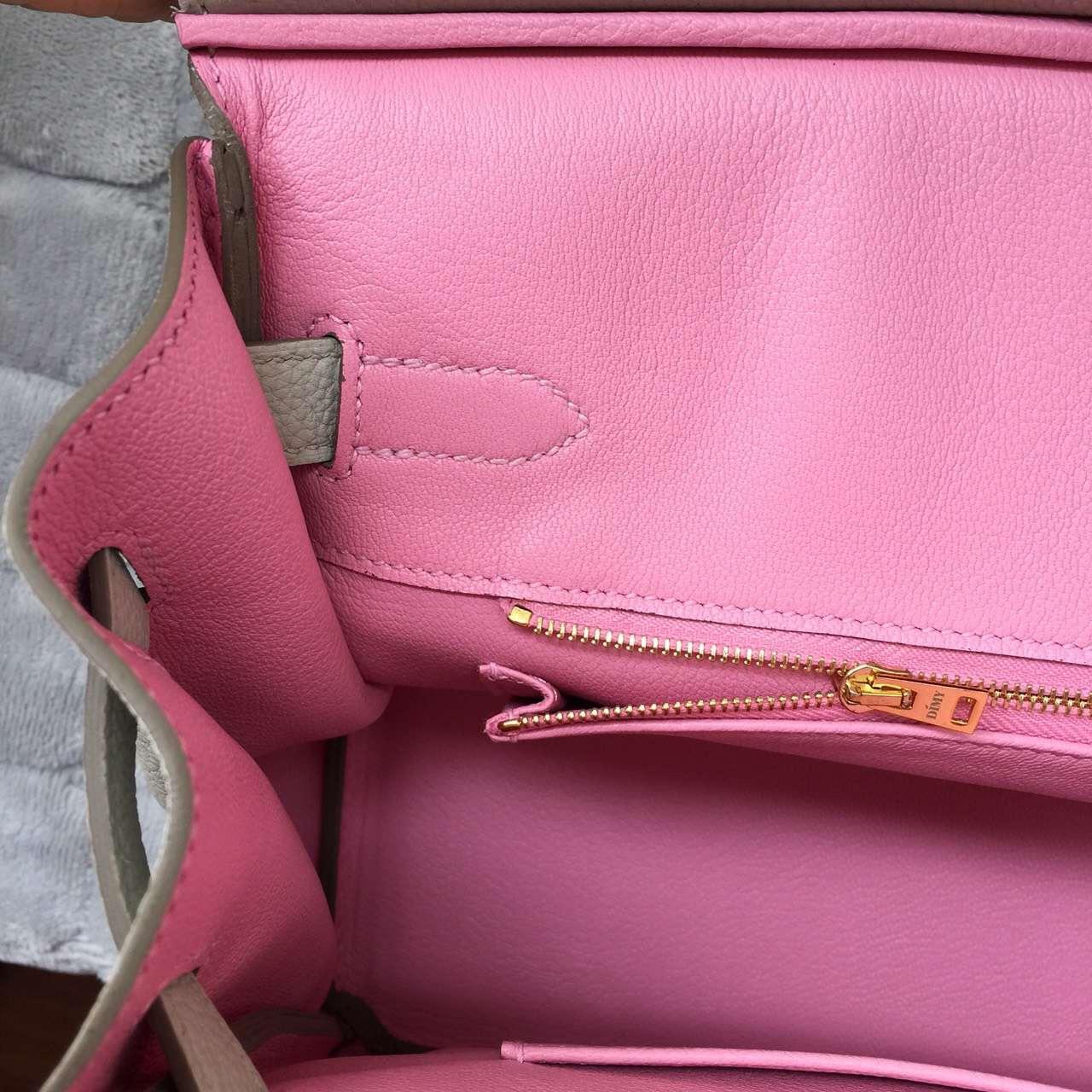 Hermes Pearl Grey & 5P Pink inner Togo Leather Birkin 30CM Gold Hardware