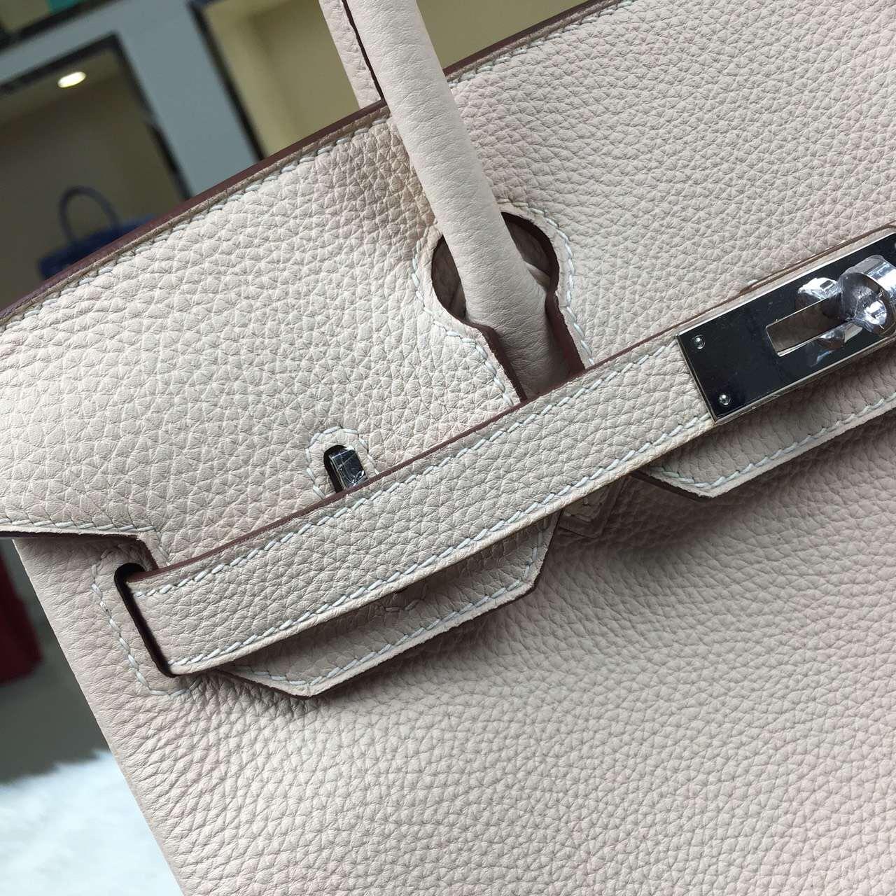 High Quality Hermes 3C Wool White Togo Leather Birkin Bag 30CM Silver Hardware