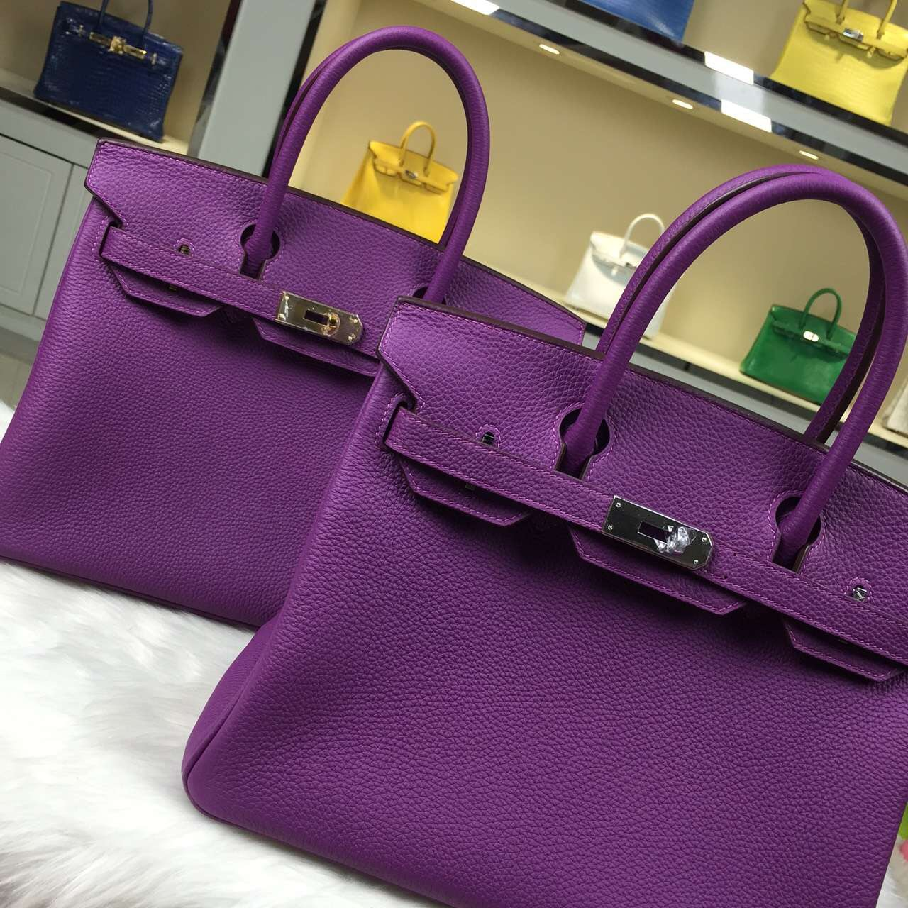 Personal Tailor Hermes P9 Anemone Purple Togo Leather Birkin Bag 30CM