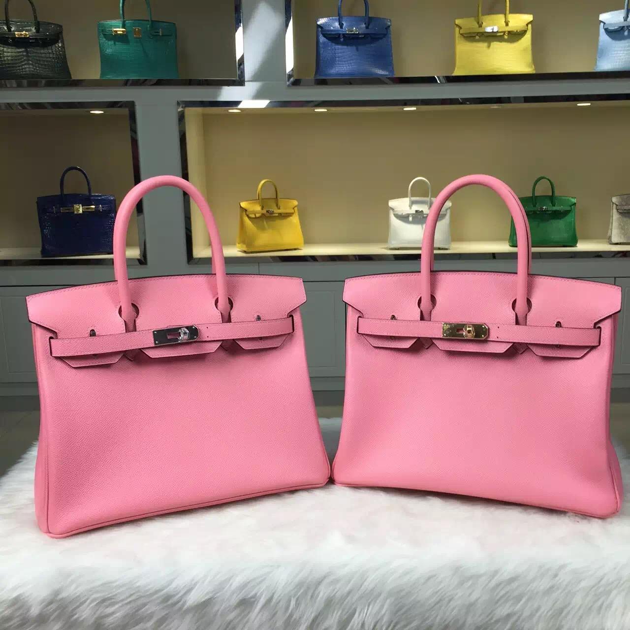 Hand Stitching Hermes Birkin Bag 1Q Rose Confetti Epsom Leather Ladies' Handbag 30CM