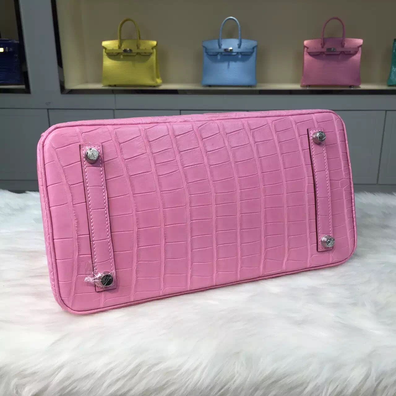 Hermes 5P Pink Original Crocodile Leather Birkin Bag 30CM Gold/Silver Hardware