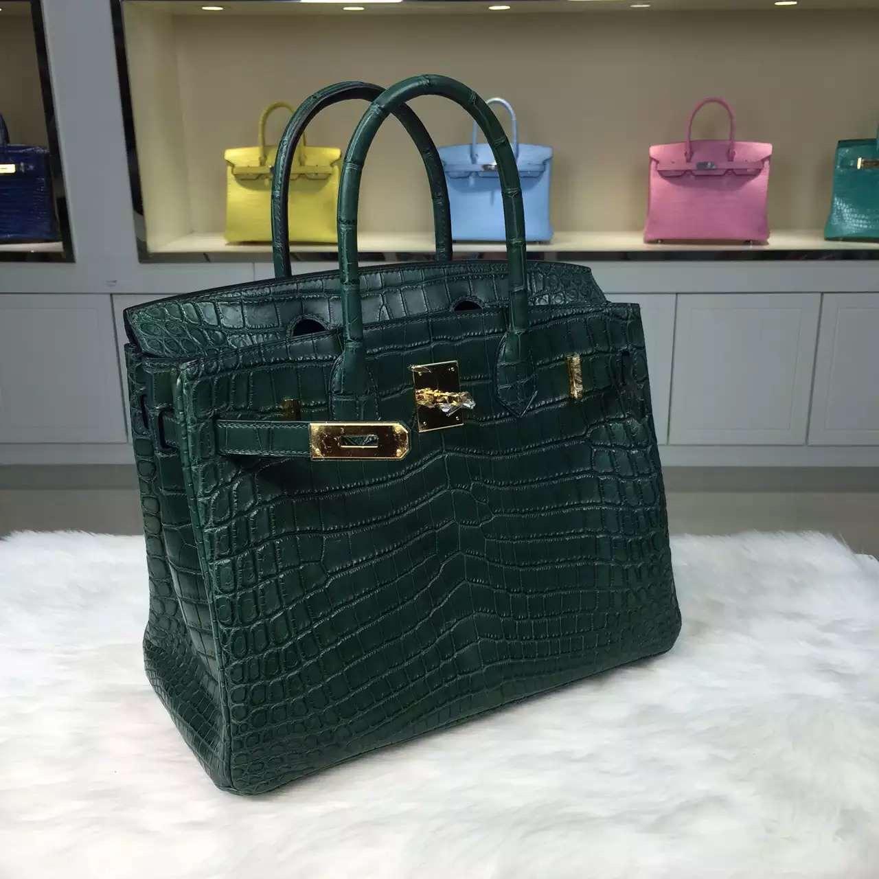 Wholesale Hermes Birkin Bag30cm 1T Cactus Green Crocodile Leather Women's Tote Bag