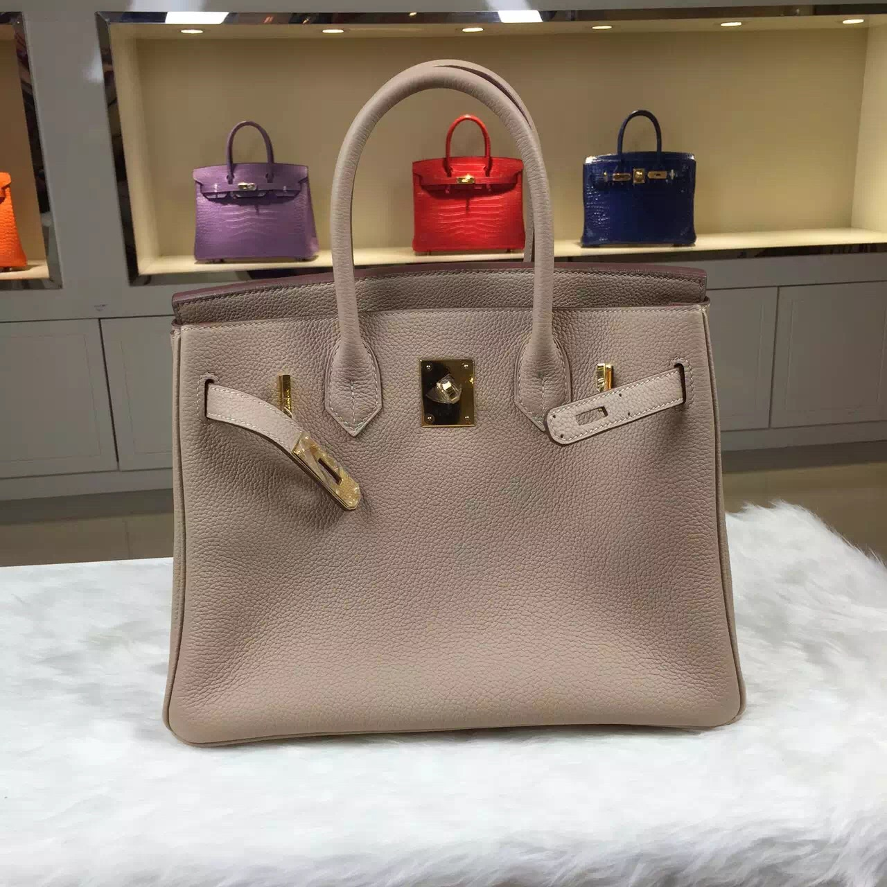 High Quality Hermes 1F Diamond Grey Original Togo Leather Birkin Bag 30CM
