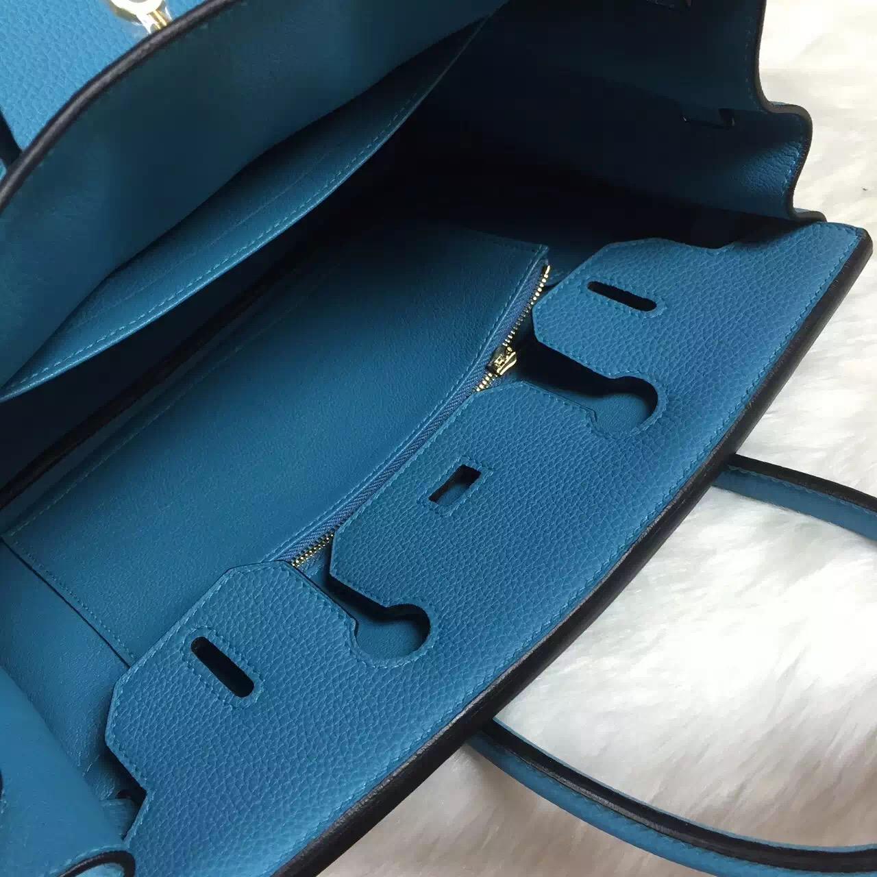 Hand Stitching Hermes 7B Turquoise Blue Original Togo Leather Birkin Bag 30CM
