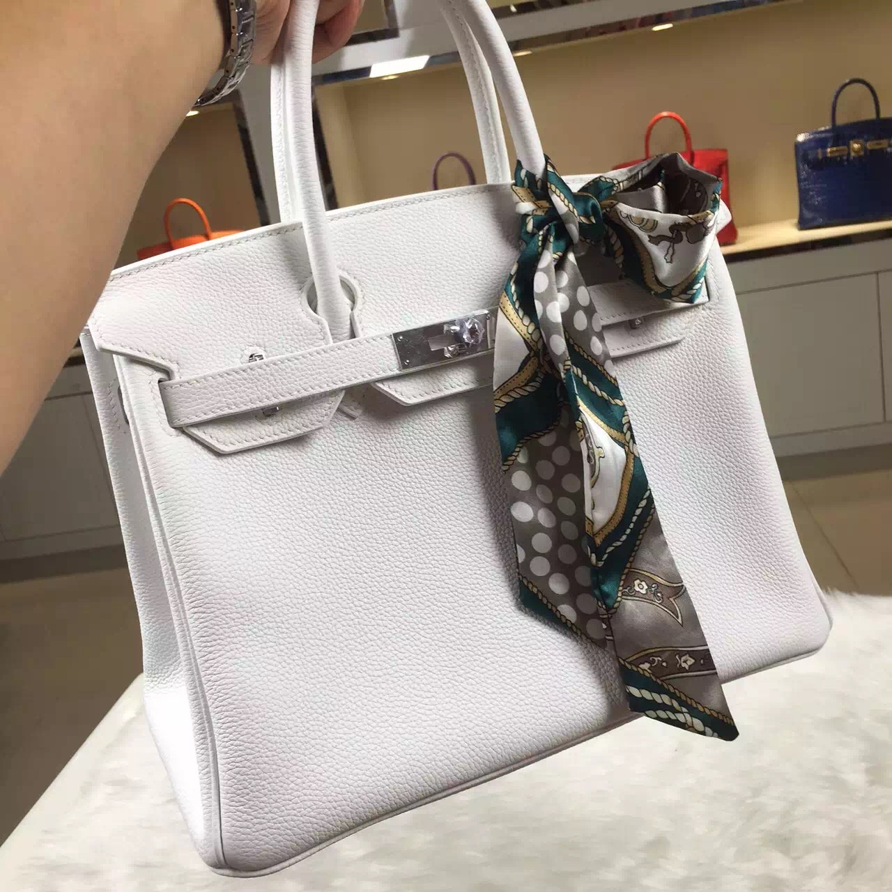 Luxury Hermes 01 Pure White Togo Leather Birkin Bag 30CM Women's Handbag