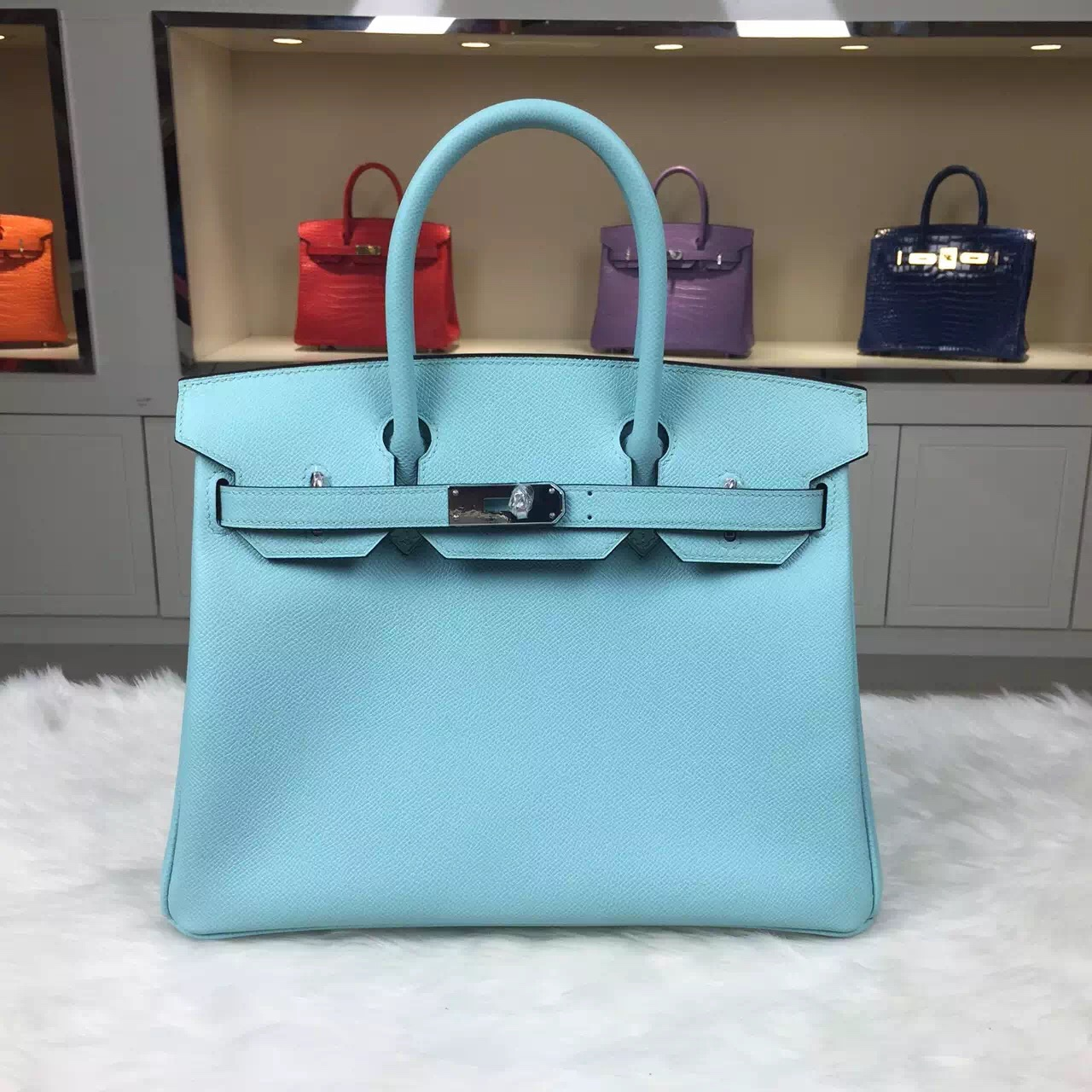 Wholesale Hermes Original Epsom Leather Birkin Bag 30CM in 3P Lagon Blue