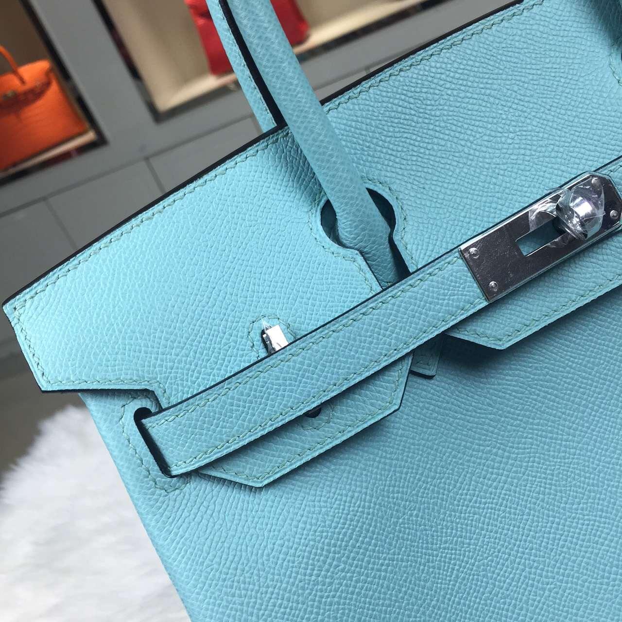 Wholesale Hermes Original Epsom Leather Birkin Bag 30CM in 3P Lagon Blue