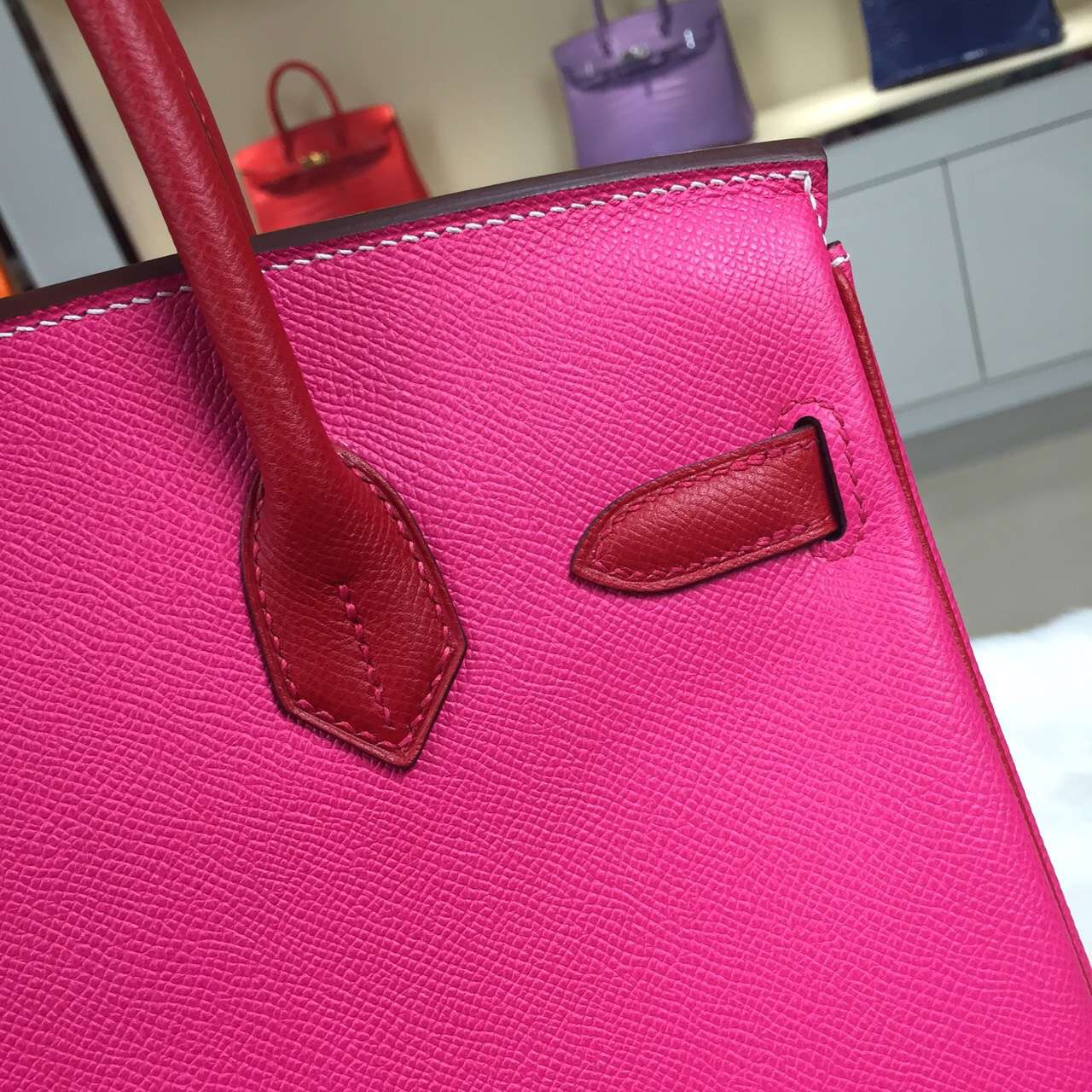 Wholesale Hermes E5 Candy Pink & Q5 Chinese Red Two-tone Color Birkin 30CM