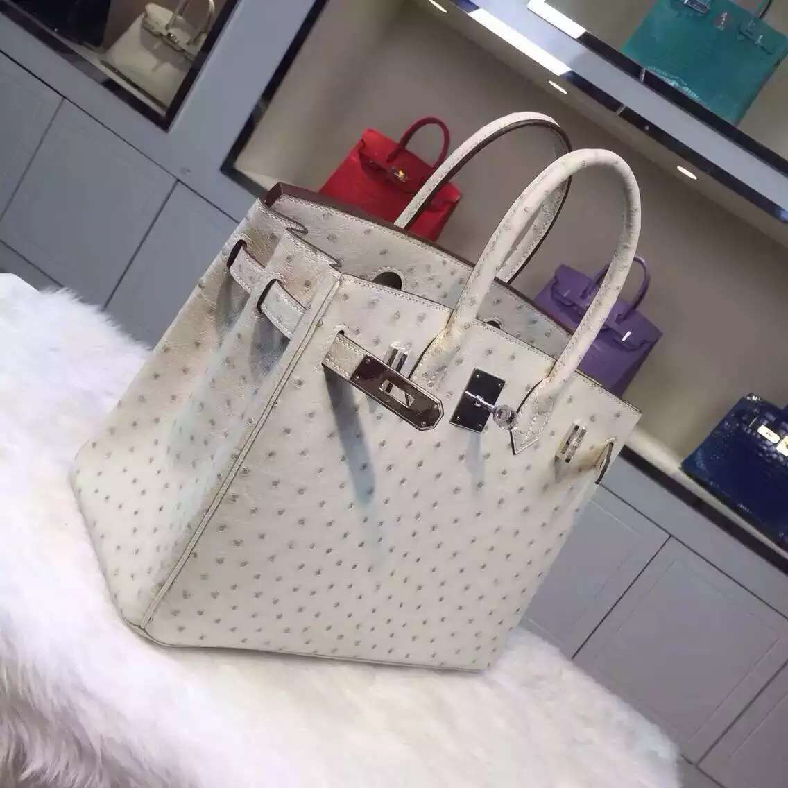 30CM Hermes 3C Wool White Ostrich Leather Birkin Bag Luxury Women's Tote Bag