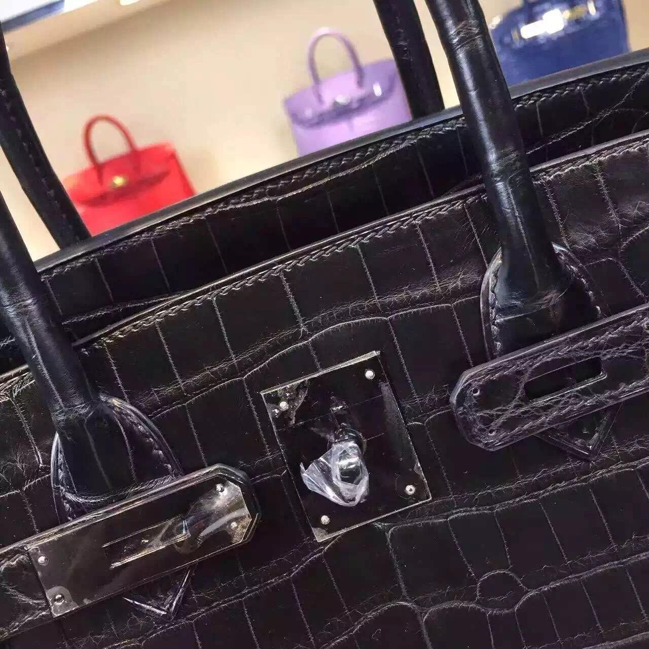High Quality Hermes Birkin 30CM CK89 Black Crocodile Skin Noble Handbag