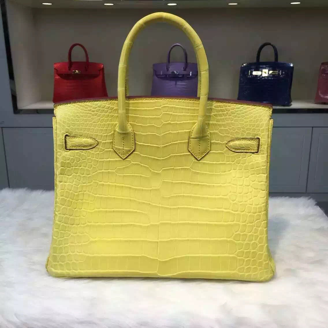 Hand Stitching Hermes C9 Yellow Crocodile Skin Birkin Bag 30CM Original Leather