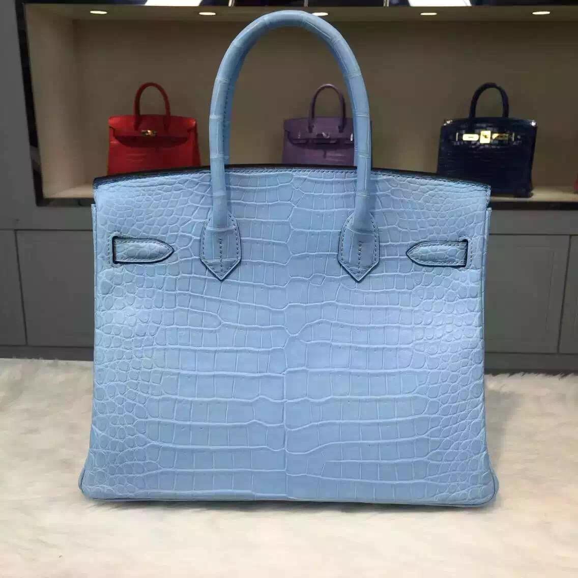Wholesale Hermes Crocodile Leather Birkin Bag 30cm in 7N Candy Blue