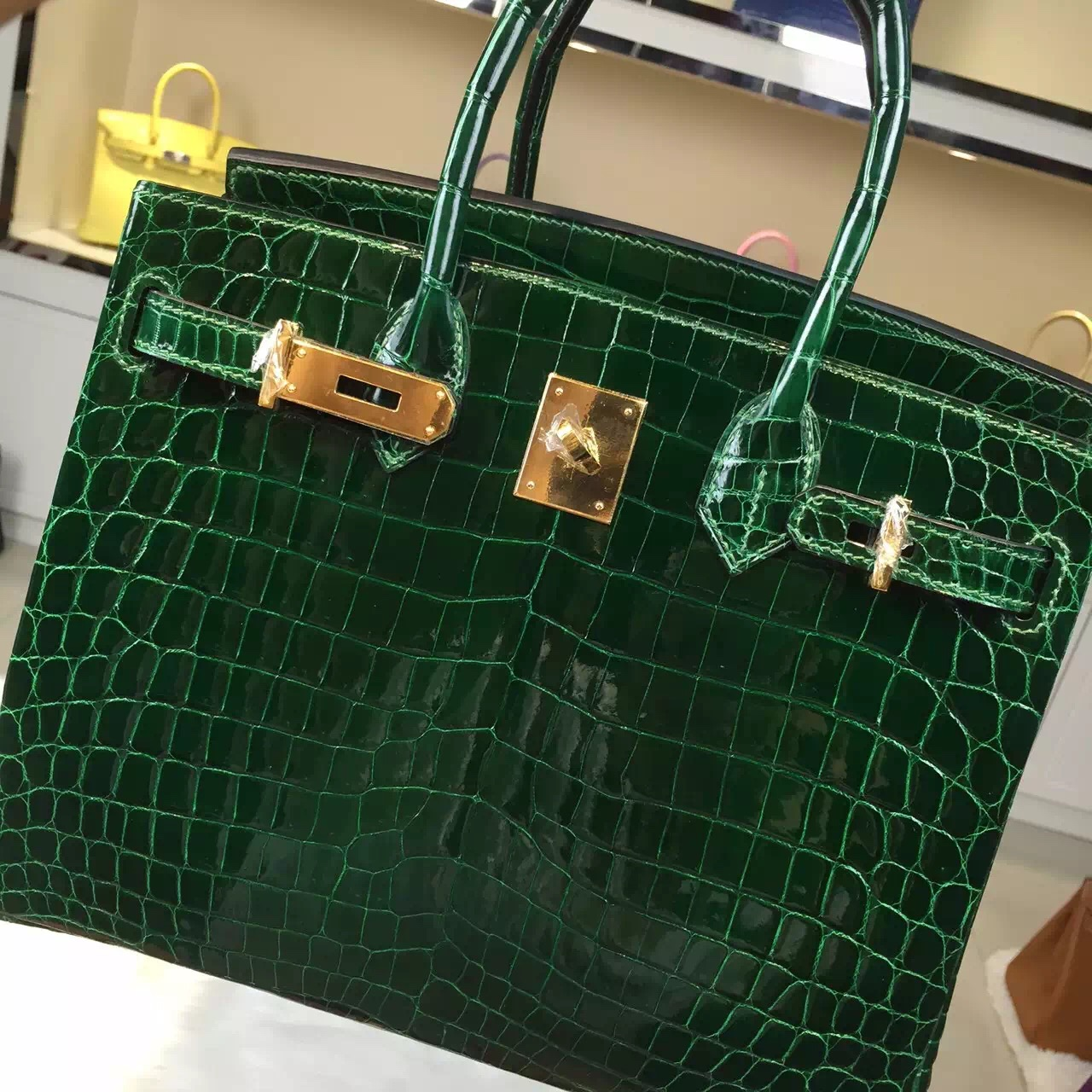 Discount Hermes CK67 Emerald Green Original Crocodile Skin Birkin Bag 30CM