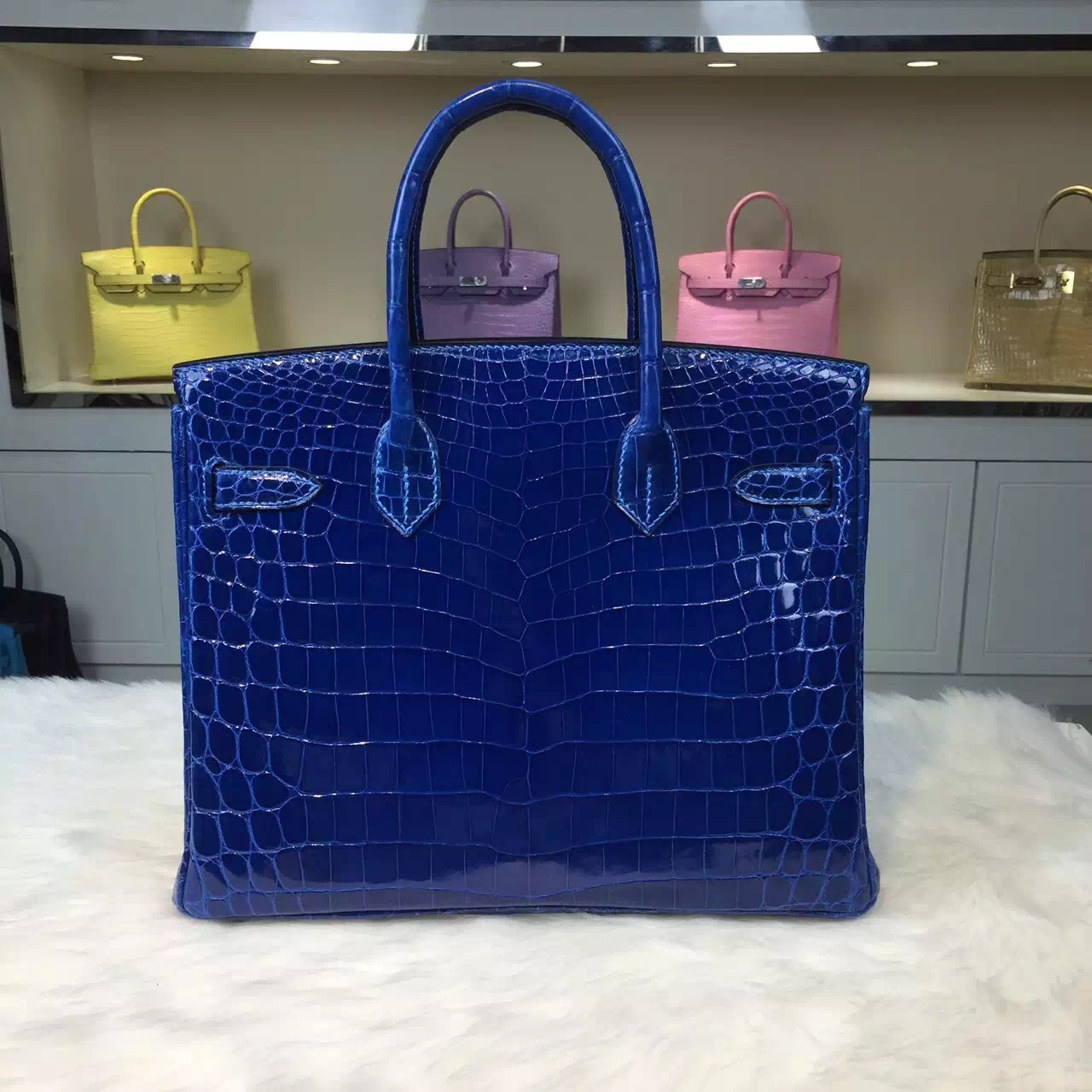 Hand Stitching Hermes Birkin Bag 7Q Mykono Blue Crocodile Leather Ladies' Tote Bag 30cm