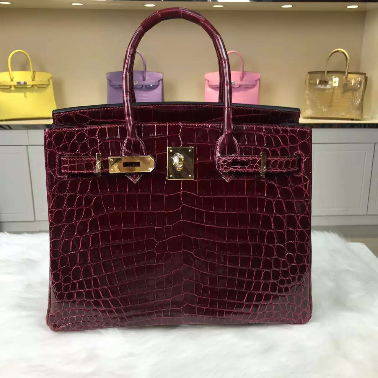 High Quality Hermes F5 Bourgogne Red Crocodile Leather Birkin Bag 30CM