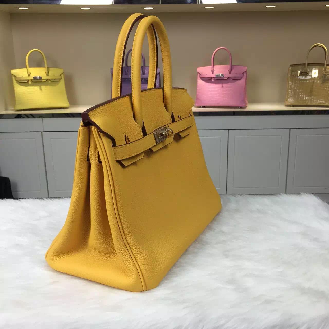 Hermes 9U Mustard Yellow Togo Calfskin Leather Birkin Bag 30CM Women's Tote Bag