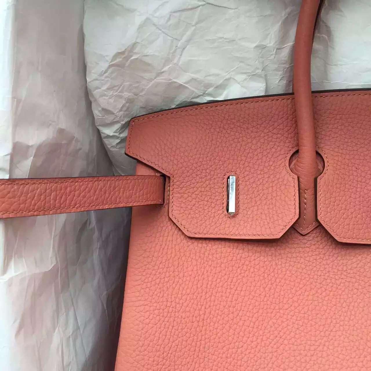 Cheap Hermes 3L Rose Tea Togo Calfskin Leather Birkin Bag 35CM Elegant Ladies' Handbag