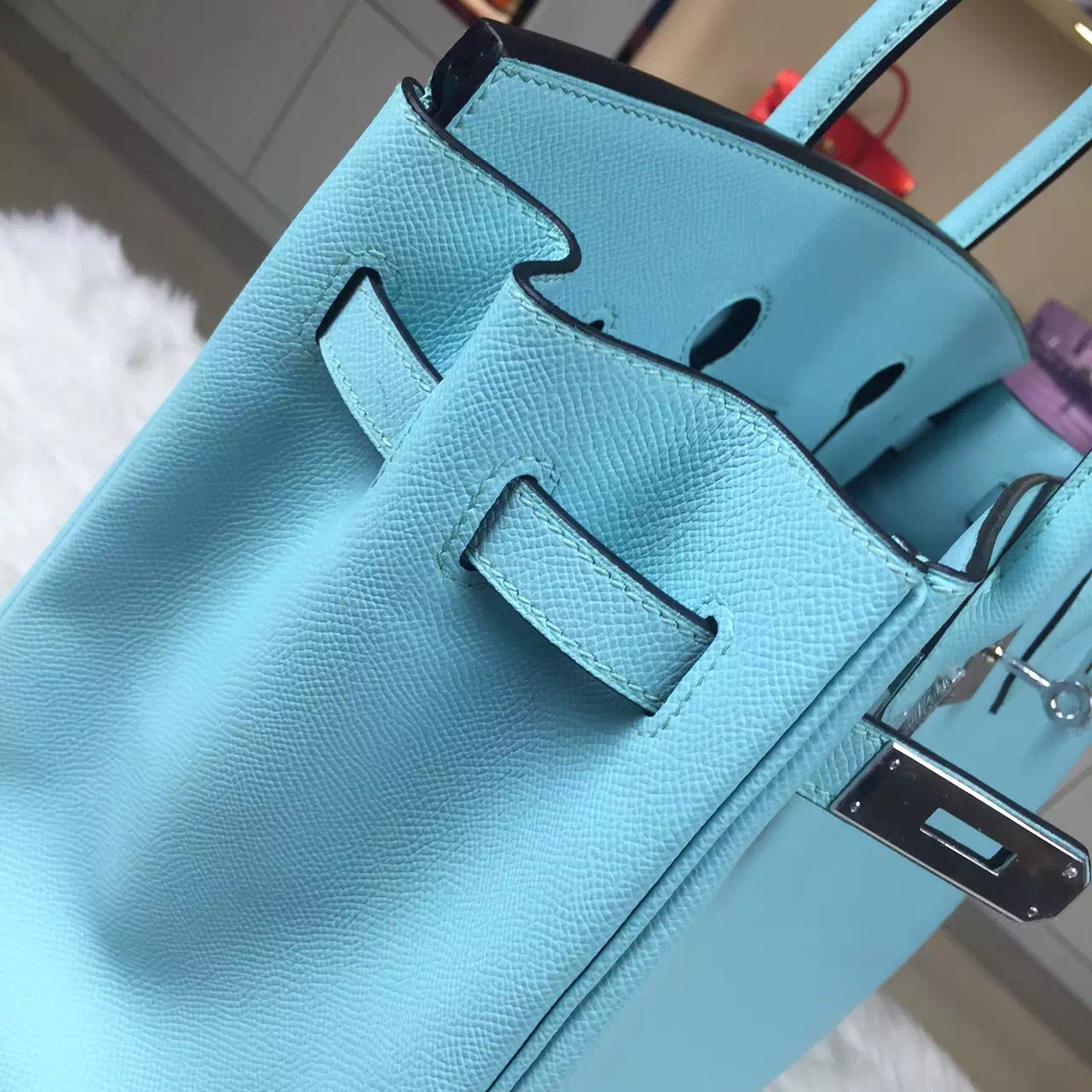 Discount Hermes Epsom Leather Birkin Bag 35CM in 3P Lagon Blue Ladies' Tote Bag