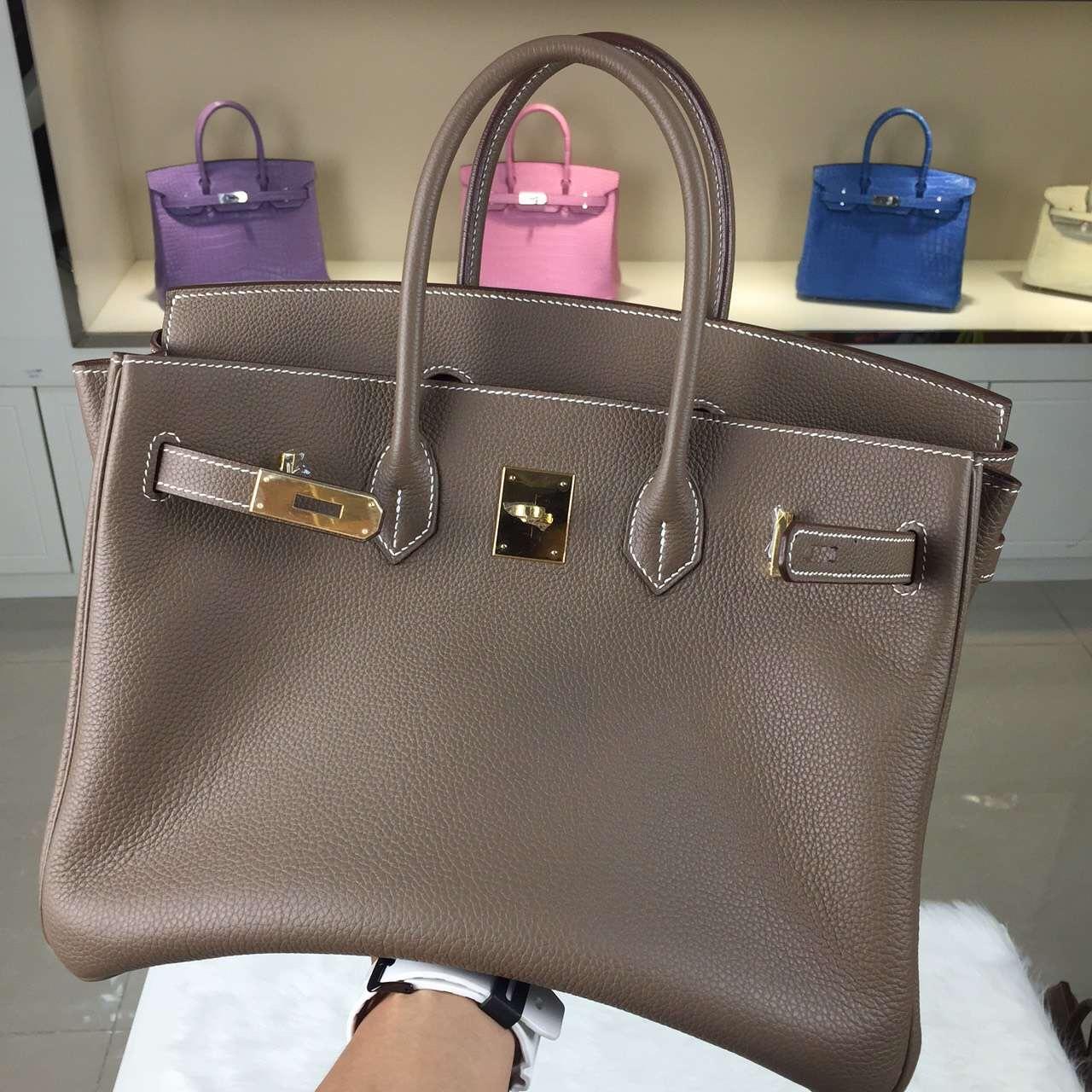 Wholesale Hermes Birkin 35CM CK18 Etoupe Grey Togo Leather Tote Bag