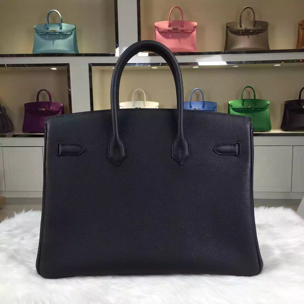 Hand Stitching Hermes 89 Black Original Togo Leather Birkin Bag Women's Handbag 35cm