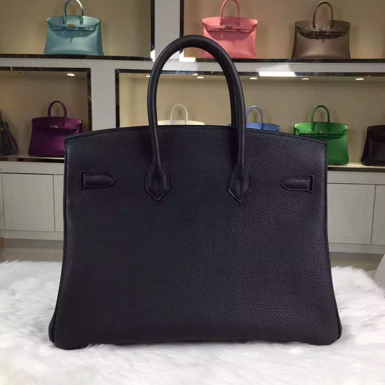 Vip Customized Hermes Birkin Bag 35cm 89 Black Togo Leather Silver Hardware