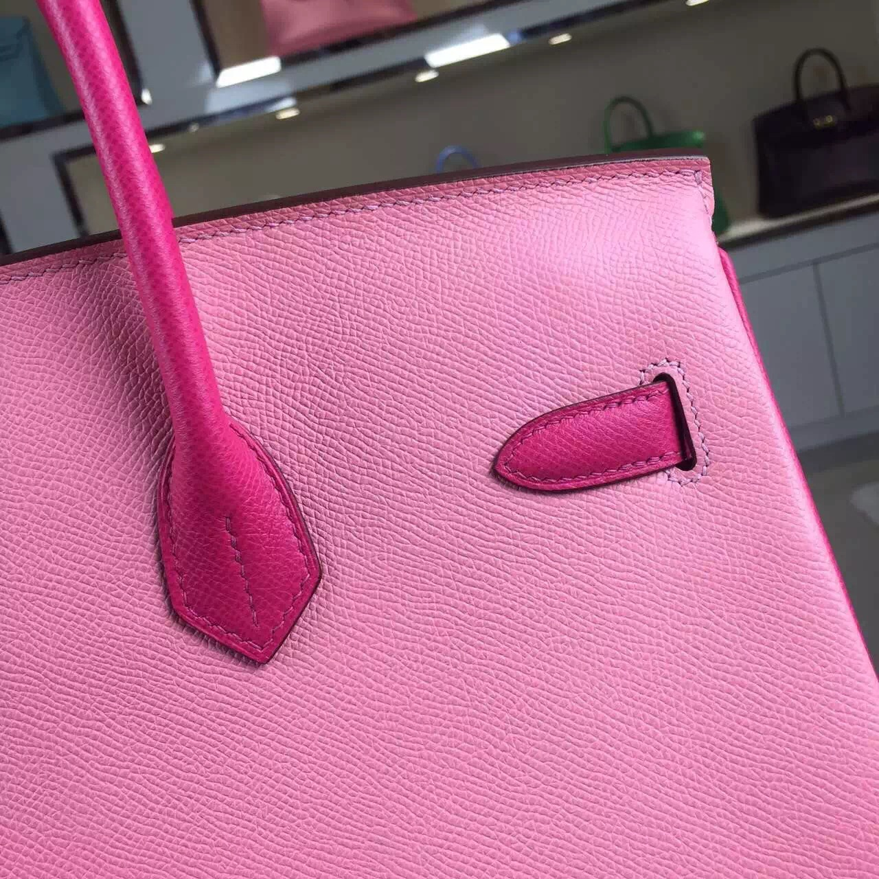 Wholesale Hermes 1Q Rose Confetti & E5 Rose Tyrien Epsom Leather Birkin Bag 35CM