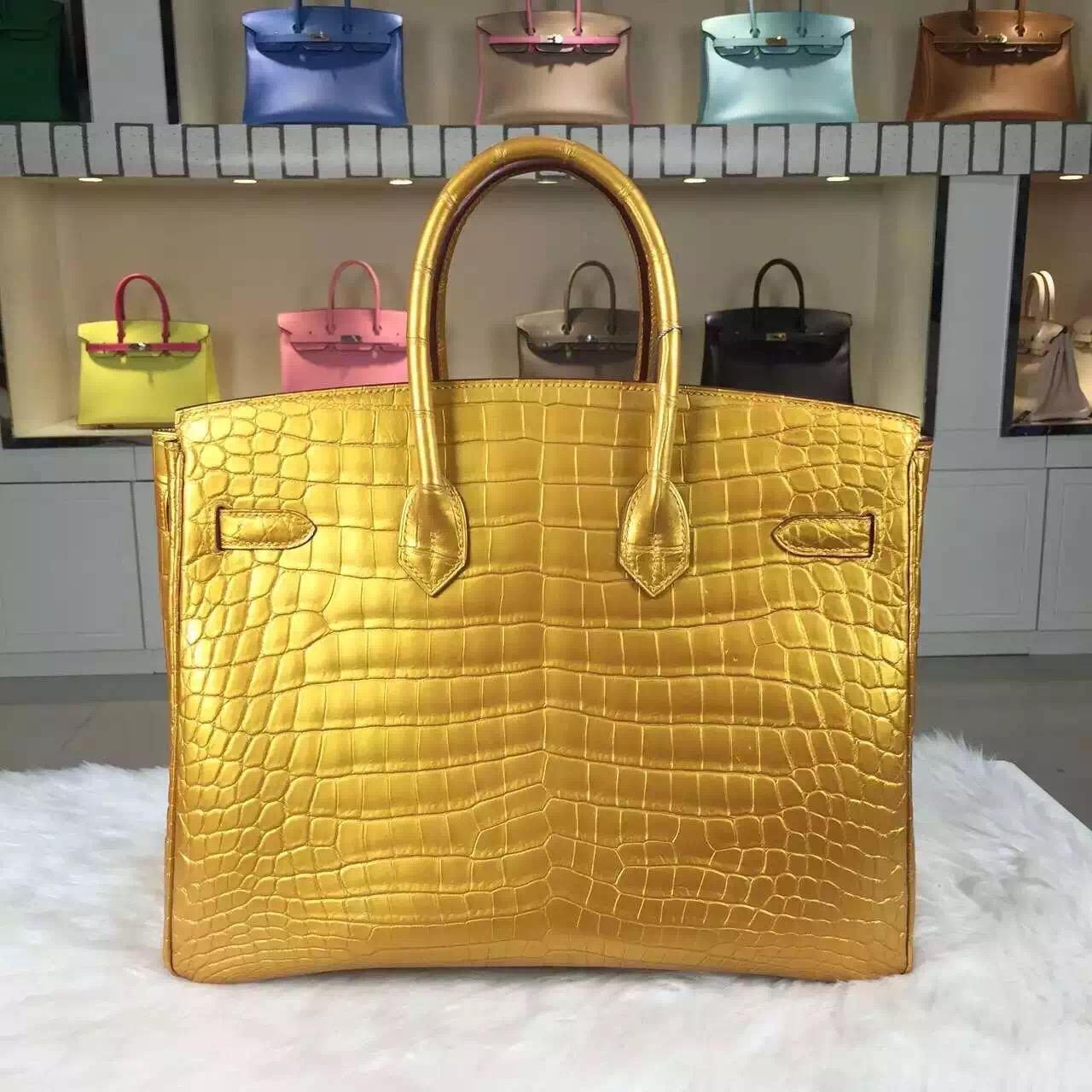 Discount Hermes Birkin Bag35cm Gold HCP Crocodile Leather Ladies' Top Handles