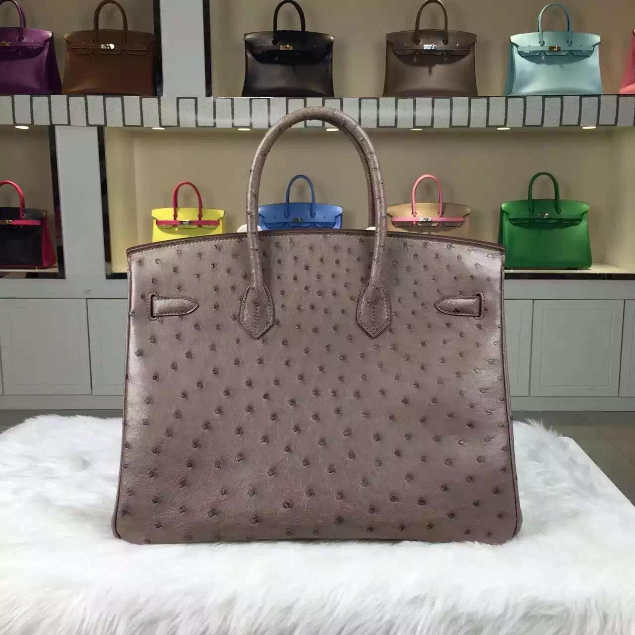 Luxury Women's Handbag Hermes Etoupe Grey Original Ostrich Leather Birkin Bag35cm