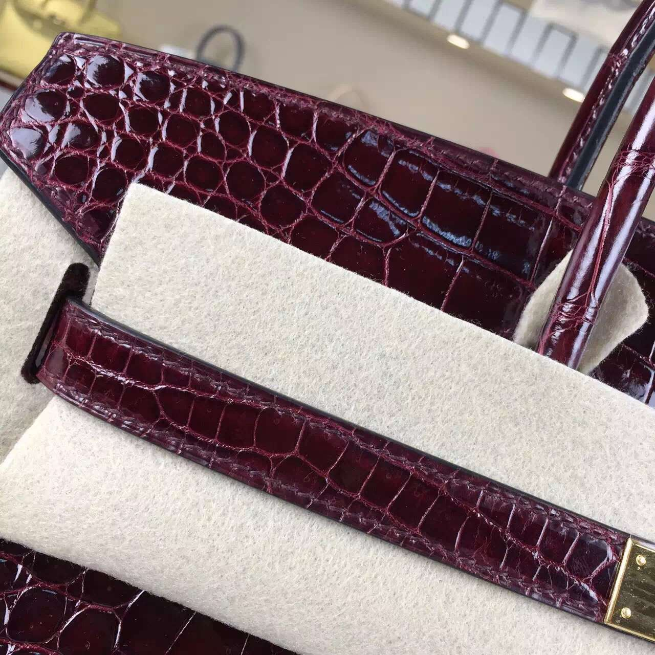 Online Shopping Hermes Birkin Bag35CM Crocodile Shiny Leather CK57 Bordeaux Red