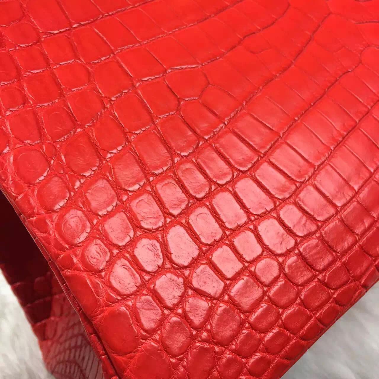 Hand Stitching Hermes Cuckoo Red Birkin35 Crocodile Matt Leather