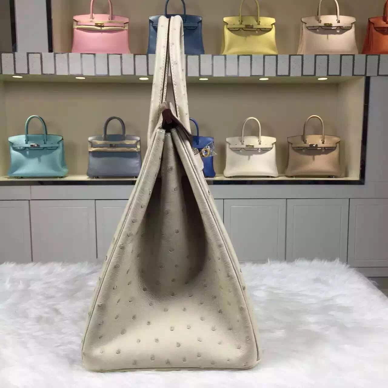 Luxury Hermes Wool White Original Ostrich Leather Birkin Bag35cm