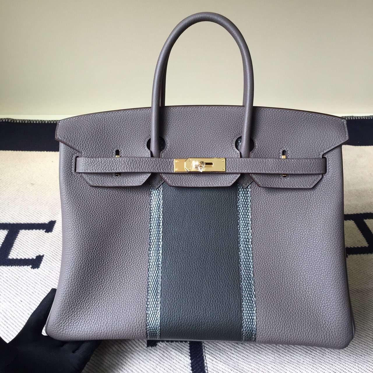 Luxury Hermes Birkin Bag 35cm Grey Togo Leather&Lizard Leather