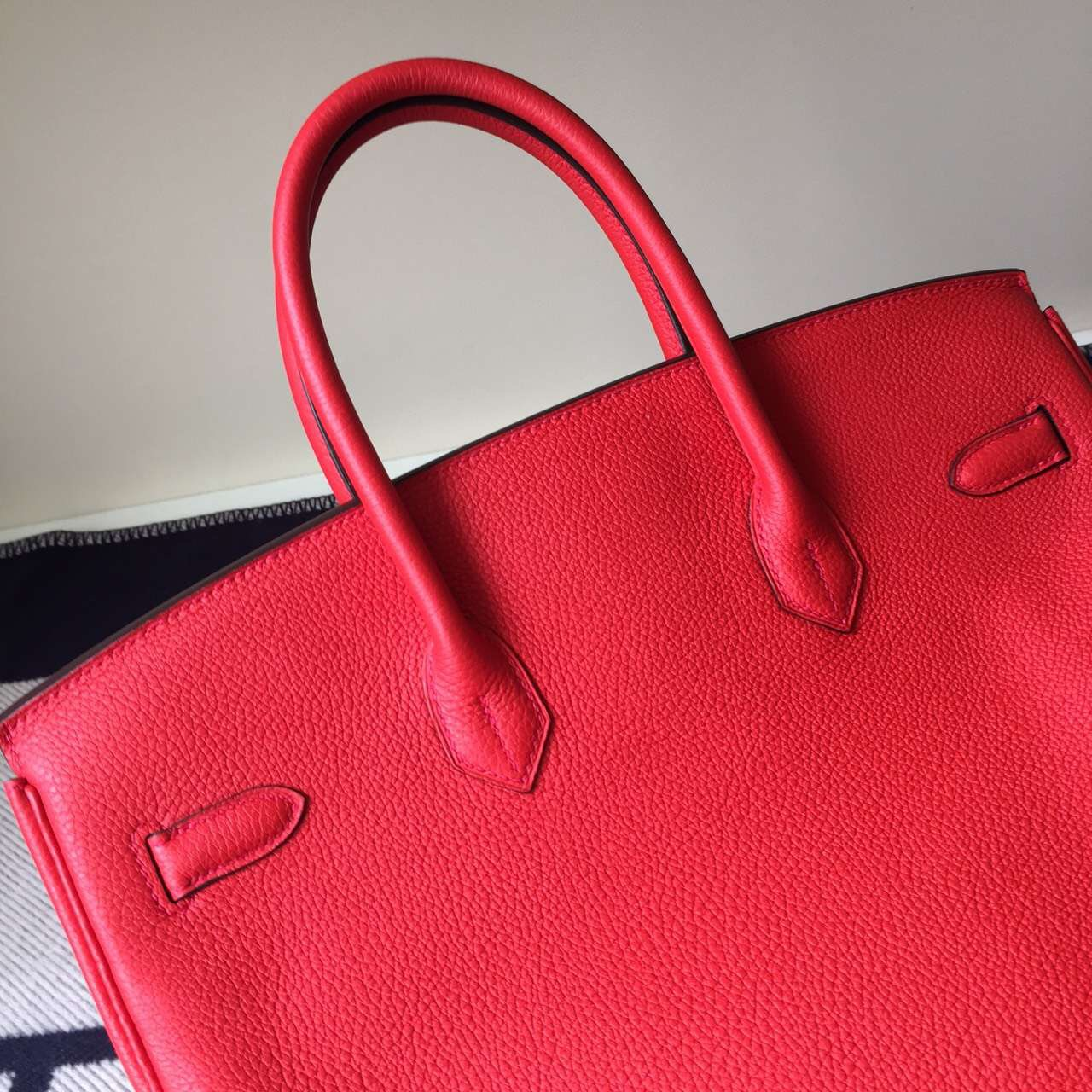Hand Stitching Hermes Togo Calfskin Leather Birkin Bag 35cm in A5 Azalea Red