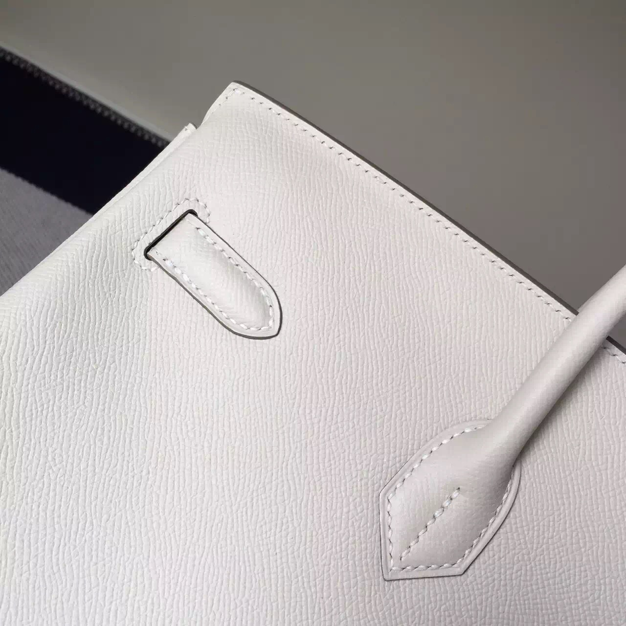 Noble Hermes Epsom Calfskin Leather Birkin35cm in ck10 Milk White