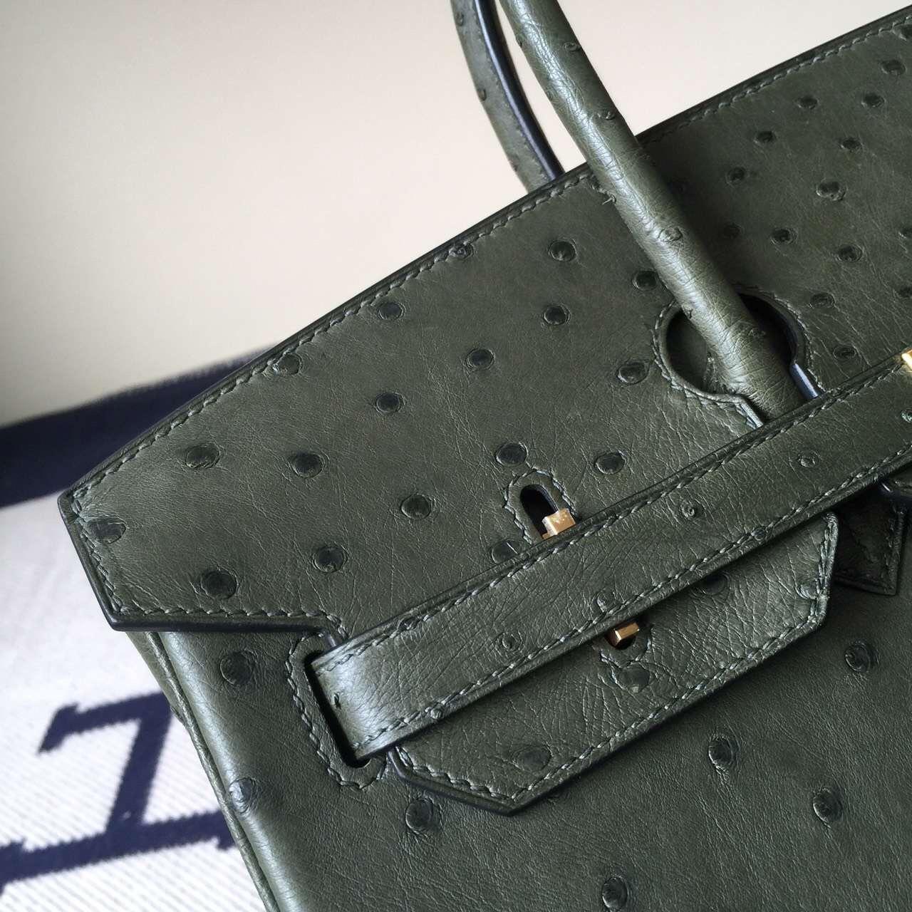 Hand Stitching Hermes V6 Canopee Green Ostrich Leather Birkin Bag35cm