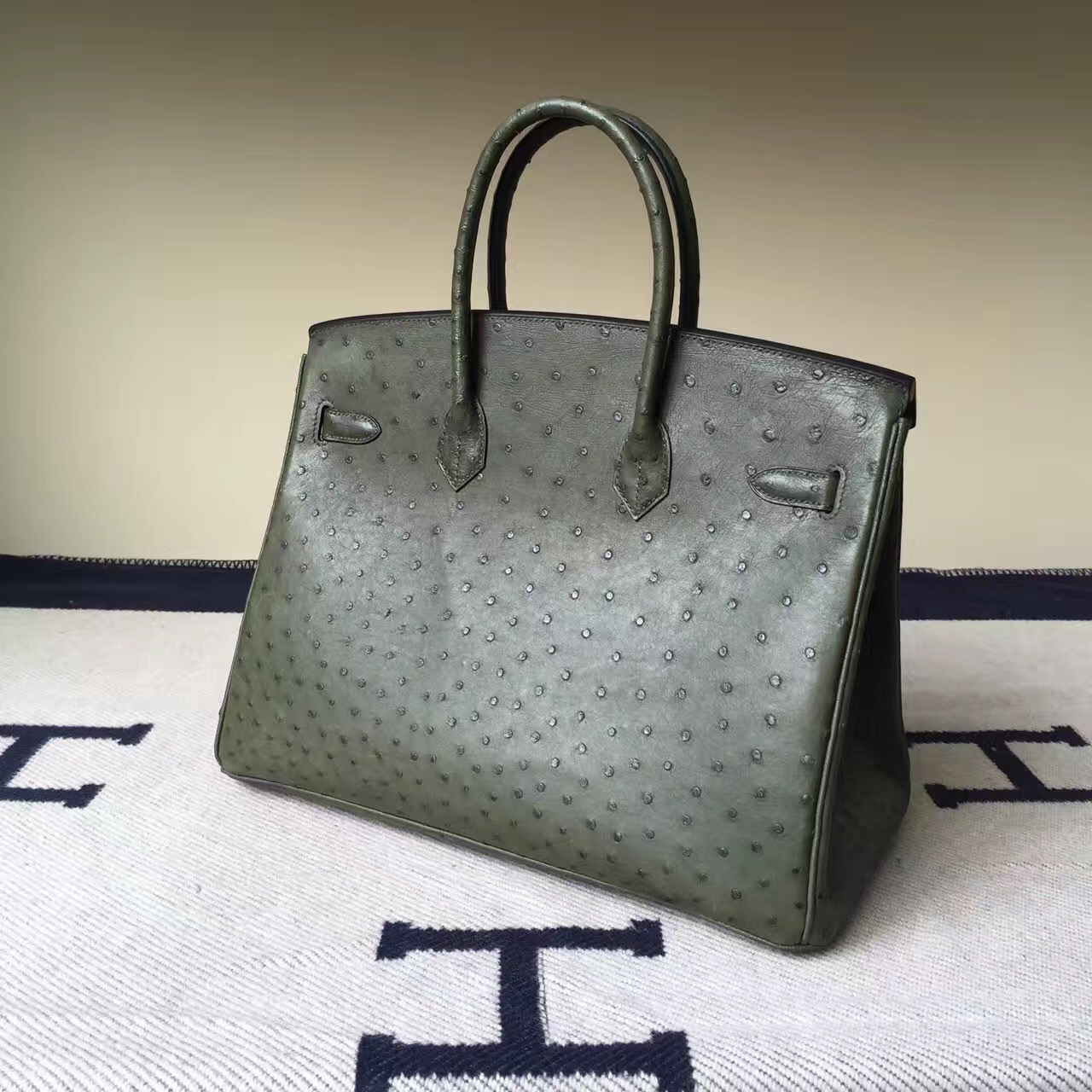 Hand Stitching Hermes V6 Canopee Green Ostrich Leather Birkin Bag35cm