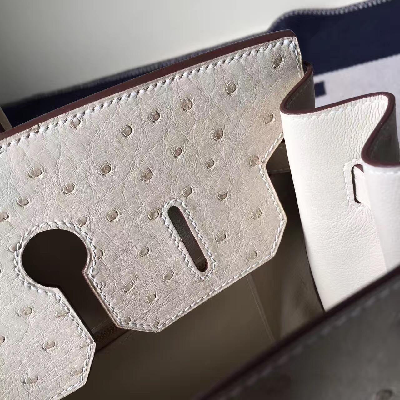 Hand Stitching Hermes 3C Wool White Ostrich Leather Birkin Bag35cm