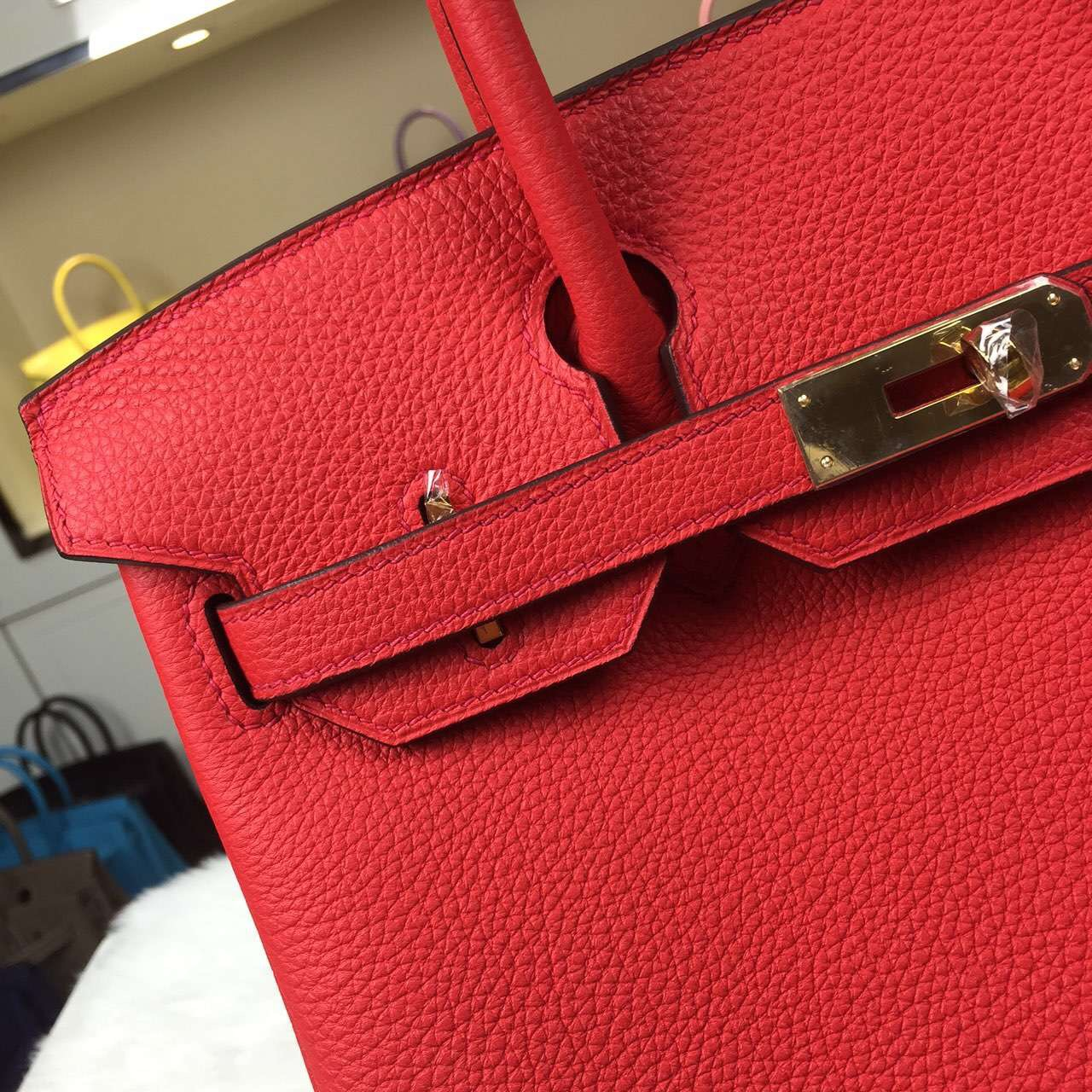 Hand Stitching Hermes Birkin30 Togo Calfskin Leather in 2R Peony Red Handbag