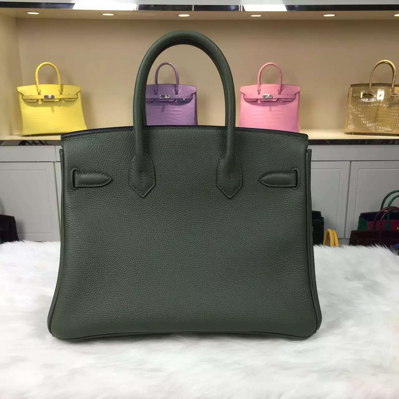 Discount Hermes V6 Canopee Green Original Togo Leather Birkin Bag 30CM